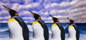 Emperor's four penguins on sea wave background — Zdjęcie stockowe