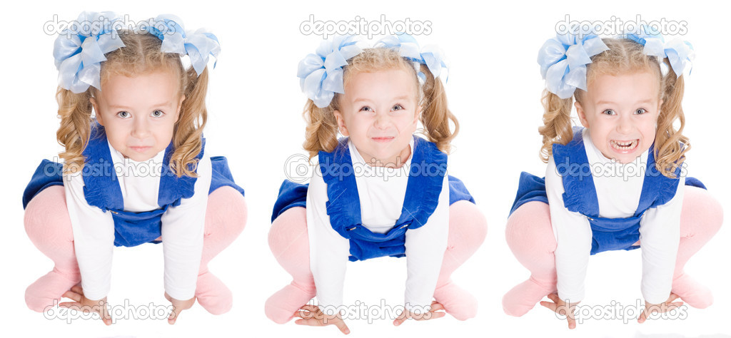 Stages of angry. little blonde girl with an angry expression in her pajamas   Stock Photo #6733497