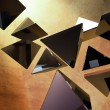 Stock Photo: Black 3D pyramids