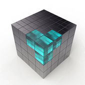 Black 3d futuristic cube — Stock Photo