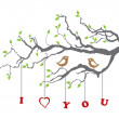 Birds in love on a tree branch — Stock Vector #6503088