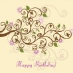 Feminine floral happy birthday card — Stock Vector
