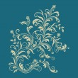 Floral ornament on turquoise background - Stock Vector