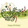 Green and yellow birthday card — Stock Vector