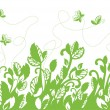 Seamless green foliage and butterflies border — Stock Vector #6503140