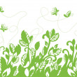 Stock Vector: Seamless green foliage and butterflies border