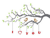 Birds in love on a tree branch — Stock Vector