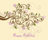 Feminine floral happy birthday card — Cтоковый вектор