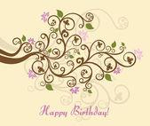 Kadınsı çiçek mutlu doğum günü kartı — Stok Vektör