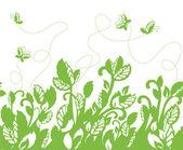 Seamless green foliage and butterflies border — Stock Vector