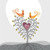 Love birds and heart shaped tree — Stock Vector