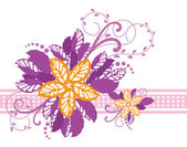 Pink and yellow floral banner — Stock Vector