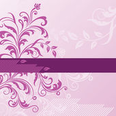 Pink floral background with banner — Vecteur
