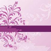 Roze bloemen achtergrond met banner — Stockvector