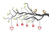 Dos pájaros del amor y el árbol del amor — Vector de stock
