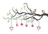 Two love birds and love tree — Vector de stock