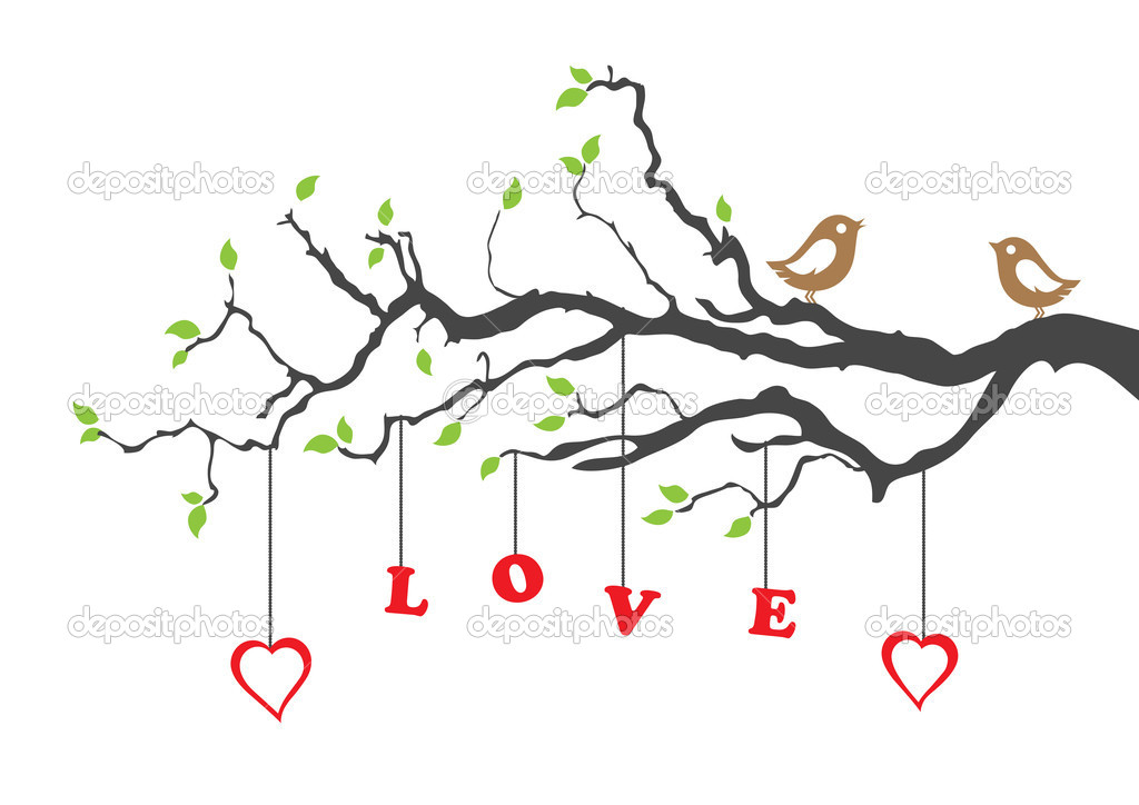 Two love birds and love tree. This image is a vector illustration. — Imagen vectorial #6503255