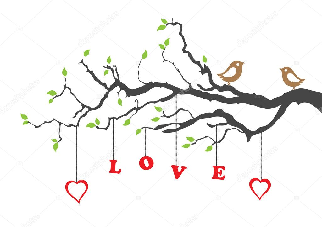 Two love birds and love tree stock illustration
