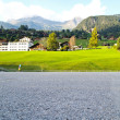 Car Park at Swiss village view in Jungfrau - Stock Photo