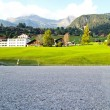 Car Park at Swiss village view in Jungfrau — Stock Photo