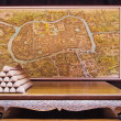 Stock Photo: Wood Chair & Map of Ayutthay, old kingdom of Thailand