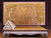 Wood Chair & Map of Ayutthaya , old kingdom of Thailand — Stock Photo