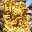 Goddess NaZha beating the dragon and china temple Chonburi Thail - Stock Photo