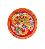 Golden dragon decorated on red wood,chinese style — Stock Photo