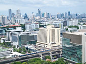 Siam square shopping areas with Skytrain , Bangkok — Stock Photo