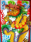 Drachen-status, mauer bei chinesischen tempel — Stockfoto