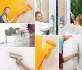 Collage of home improvement pictures — Stok fotoğraf