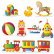 Set of colorful children's toys — Vector de stock