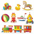 Set of colorful children's toys - Stock Vector