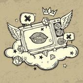 Grunge TV design — Stock Vector