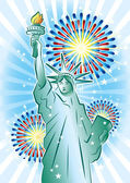 Statue of Liberty and fireworks — Stock Vector