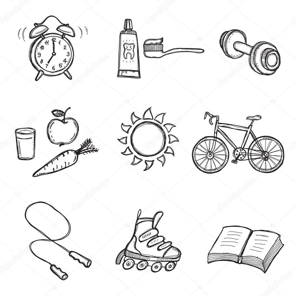 Набор элементов, здорового образа жизни. сигнализация,велосипед,на велосипеде,книга,мозг,уход,морковь,будильник...