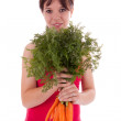 Young Woman with vegetables — Stock Photo