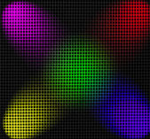 Grid illuminated by color projectors — Stock Photo