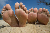 Foot on the beach — Stock Photo