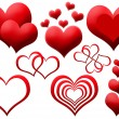 Stock Photo: Clipart of red hearts