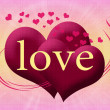 Two pink heart with the word love — Stock Photo