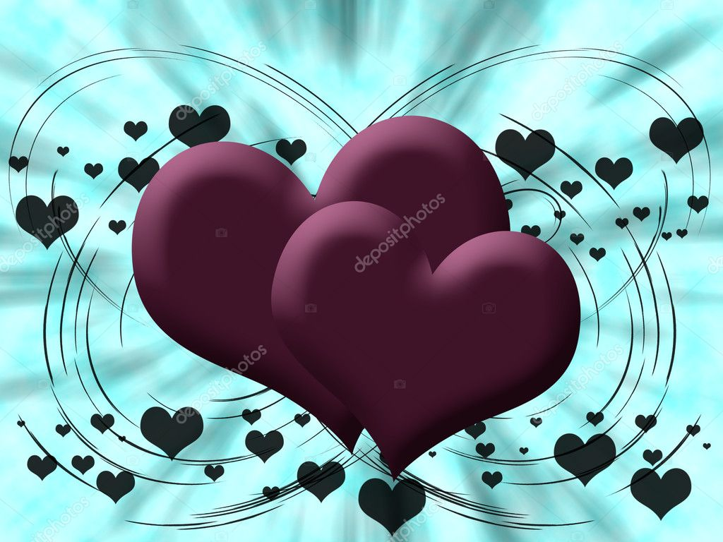 Two pink hearts on a blue background  Stock Photo #5518530