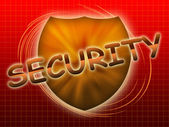 Inscription security and shield — Stock Photo