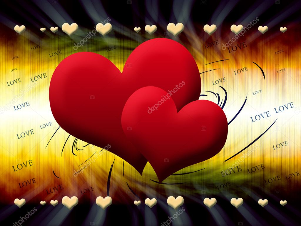 Two red hearts on an abstract background  Stock Photo #5628251