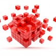 Stock Photo: Red cubes 3D. Isolated