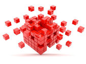 Red cubes 3D. Isolated — Stok fotoğraf