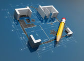 Project of construction. 3D illustration — Stock Photo