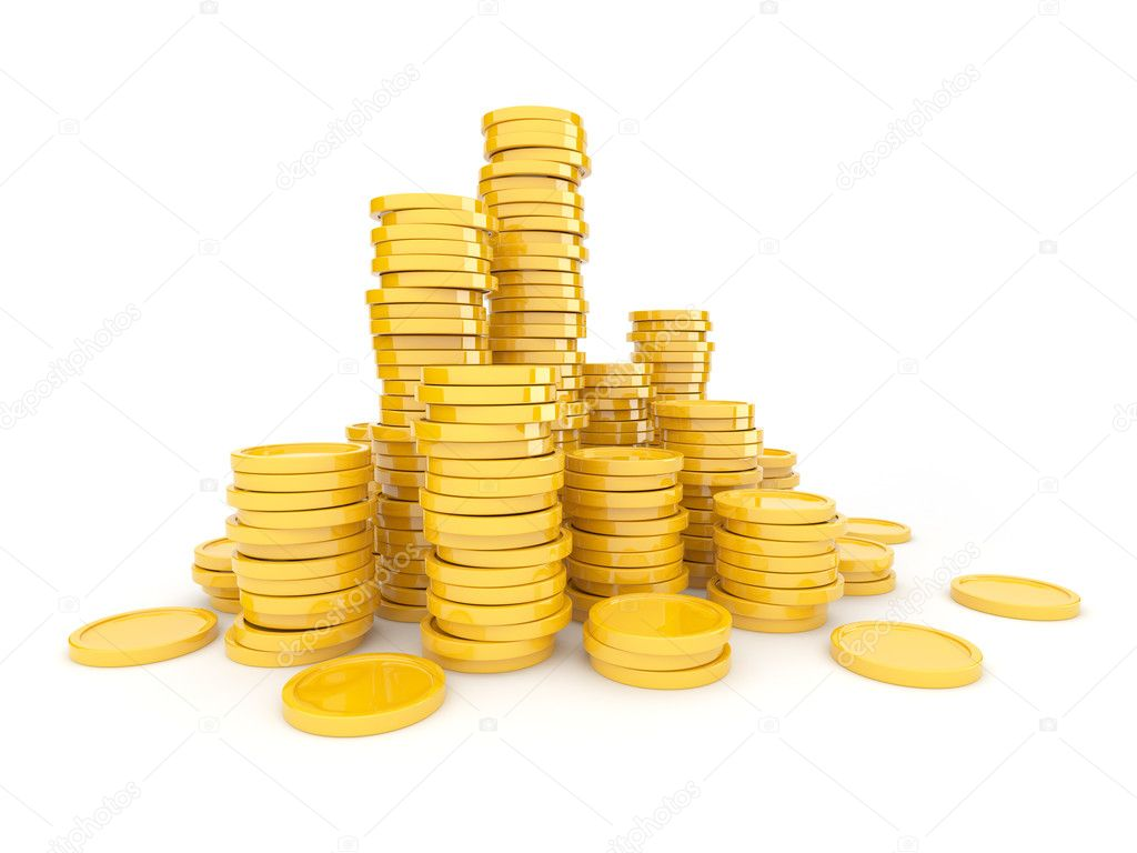 Vector gold coins falling transparent background Vector