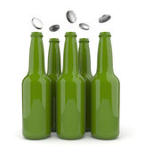 Bottles with beer and opening cap. 3d isolated — Stock Photo