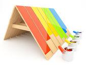 Målat trä tak 3d. byggandet av huset — Stockfoto